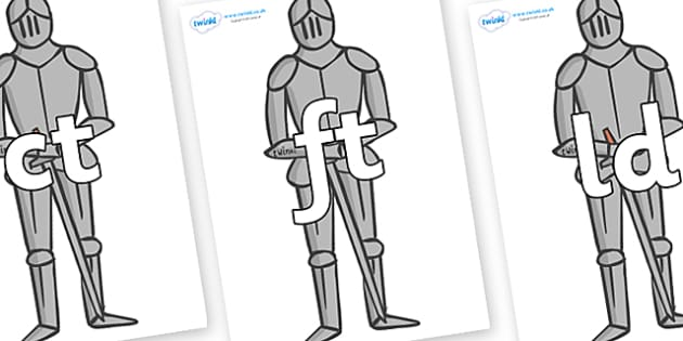Final Letter Blends on Suits of Armour - Final Letters, final letter, letter blend, letter blends, consonant, consonants, digraph, trigraph, literacy, alphabet, letters, foundation stage literacy