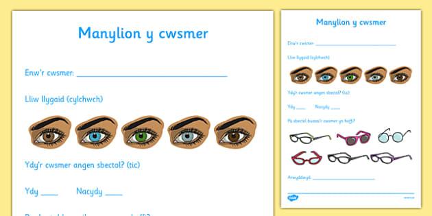 Ffurflen Manylion Cwsmeriaid Chwarae Rôl Optegydd  - welsh, opticians, role-play, customer details