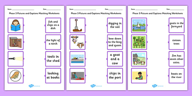 Phase 3 Pictures and Captions Matching Worksheets - phase 3