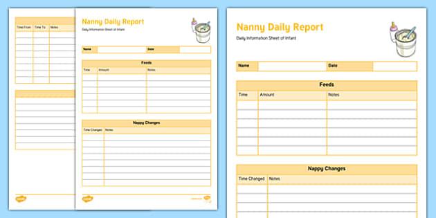 Australian Nanny Daily Report for Infant Editable Proforma-Australia