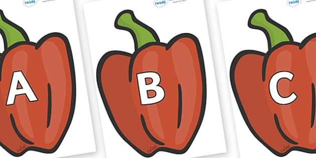 A-Z Alphabet on Peppers (Plain) - A-Z, A4, display, Alphabet frieze, Display letters, Letter posters, A-Z letters, Alphabet flashcards