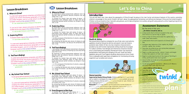 PlanIt Geography Year 2 Lets Go To China Planning Overview CfE - KS1, key stage 1, geography, topic, planning, resources, unit, natural, physical, human, scottish, curriculum for excellence, comparison