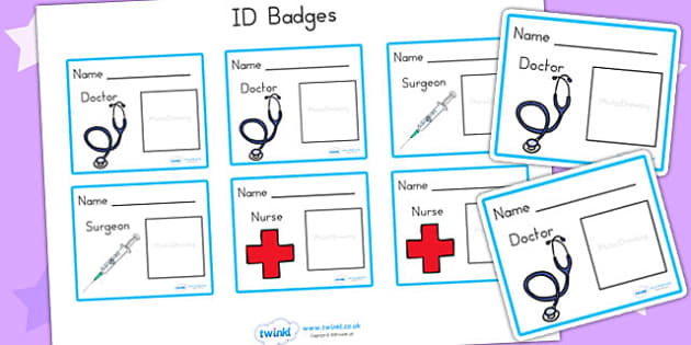 Hospital ID Badges - hospital role play, roleplay, props, badge