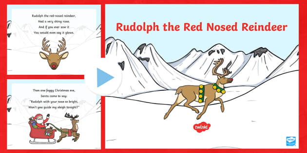 Rudolph the Red Nosed Reindeer Song PowerPoint - rudolph the red nosed reindeer, song, powerpoint, rudolph, christmas, carol, sing