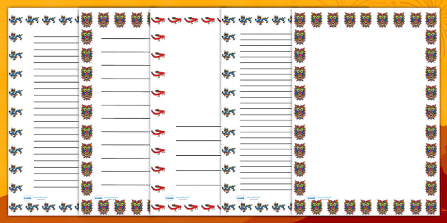 Chinese Dragon Mask Page Borders - chinese, new year, writing
