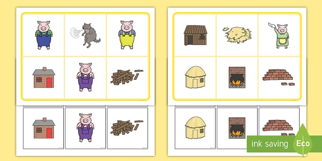 The Three Little Pigs Matching Cards and Board - the three little pigs, three little pigs matching game, three little pigs picture matching activity, sen