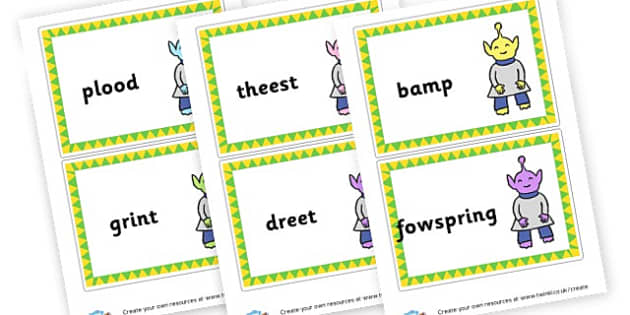 Phase 4 Nonsense Word Large Cards - DFE Letters and Sounds Phonics Screening Check Primary Resources