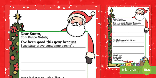 My Christmas Wish letter to santa English/Italian - My Christmas Wish Letter to Santa Writing Template - christmas, wish, letter, father christmas, sant