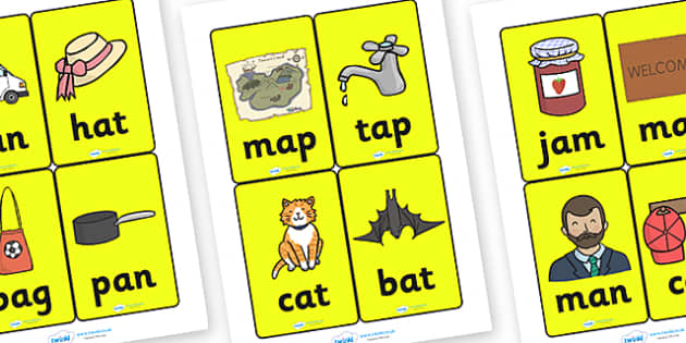 CVC Word Cards A for Visually Impaired - CVC, word, cards, word cards, A, visually, impaired, visually impaired, vowels