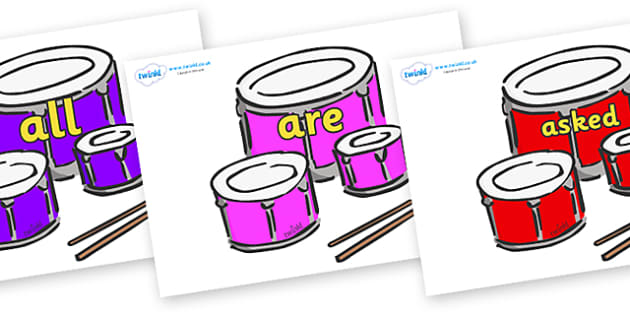 Tricky Words on Drums - Tricky words, DfES Letters and Sounds, Letters and sounds, display, words