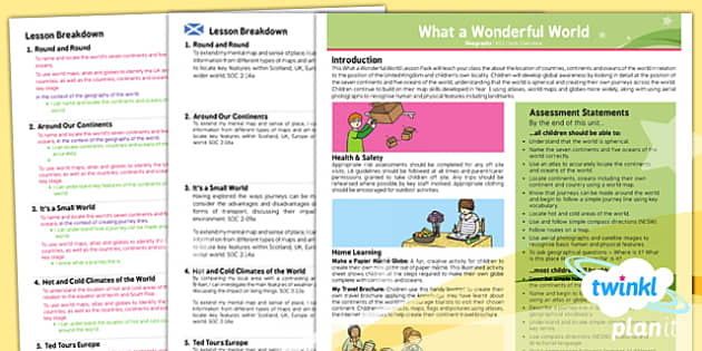 PlanIt - Geography KS1 - What a Wonderful World Planning Overview CfE - Curriculum for excellence, Scottish, geography, KS1, key stage 1, topic, planning, unit