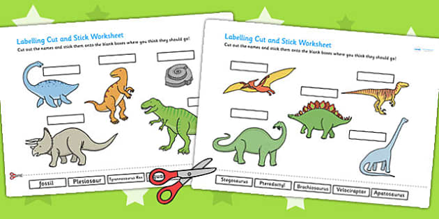 Dinosaur Scene Labelling Cut and Stick Worksheet - dinosaurs