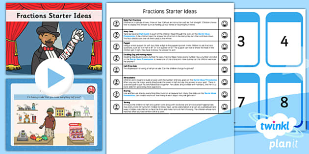 PlanIt Y1 Fractions Starter Ideas Pack - planit, fractions, year 1, maths, starter ideas