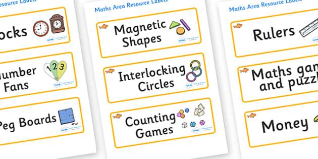 Goldfish Themed Editable Maths Area Resource Labels - Themed maths resource labels, maths area resources, Label template, Resource Label, Name Labels, Editable Labels, Drawer Labels, KS1 Labels, Foundation Labels, Foundation Stage Labels, Teaching La