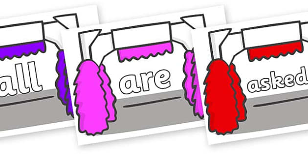 Tricky Words on Car Wash - Tricky words, DfES Letters and Sounds, Letters and sounds, display, words