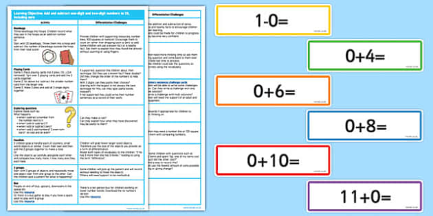 Addition and Subtraction to 20 Lesson Ideas - addition, subtract