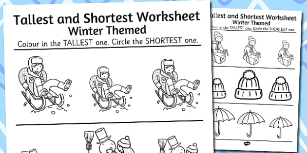 Winter Themed Tallest and Shortest Worksheets - winter, worksheet
