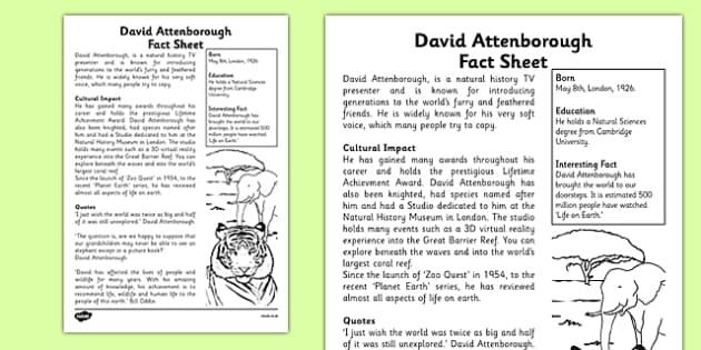 David Attenborough Significant Individual Fact Sheet - david attenborough, significant individual, fact sheet
