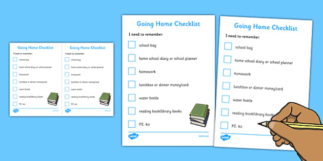 Going Home Checklist Secondary - getting home, checklist, secondary