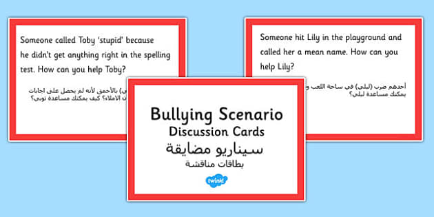 How Can You Help? Scenario Discussion Cards Arabic Translation - arabic, bullying, scenario, discussion, cards