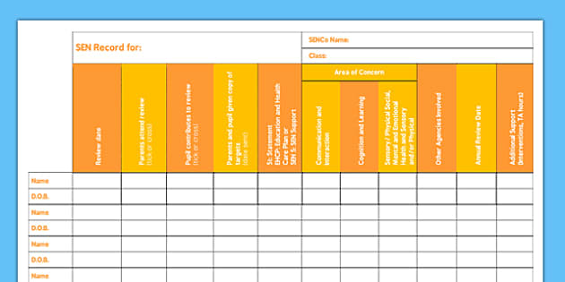 Class SEN Record - class, sen record, sen, record, information