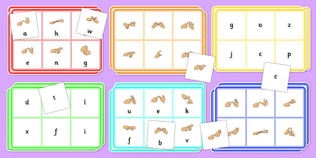 British Sign Language Alphabet Bingo And Lotto Game - bingo, game