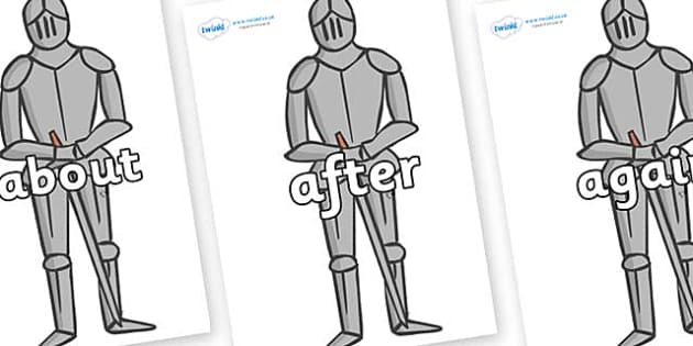 KS1 Keywords on Suits of Armour - KS1, CLL, Communication language and literacy, Display, Key words, high frequency words, foundation stage literacy, DfES Letters and Sounds, Letters and Sounds, spelling