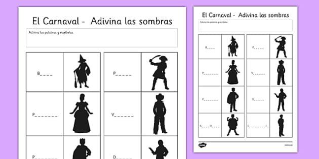Ficha - ¡Adivina las sombras de carnaval! - disfraz, fiestas, celebración, vocabulario