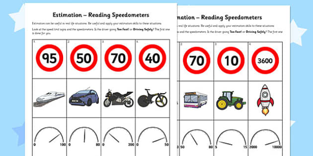 Estimation Reading Speedometers - estimation, reading, speed
