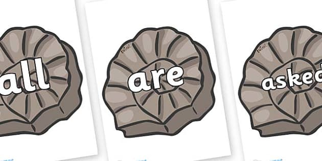 Tricky Words on Fossils - Tricky words, DfES Letters and Sounds, Letters and sounds, display, words