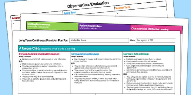 Malleable Area Editable Continuous Provision Plan Reception FS2