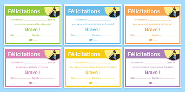 French End of Year Resilience Award Certificate-French