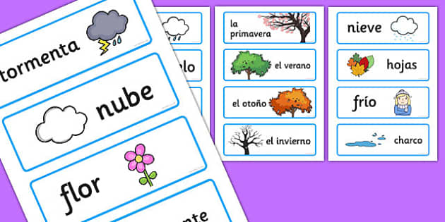 Tarjetas de vocabulario de las estaciones - tarjetas, vocabulario, estaciones
