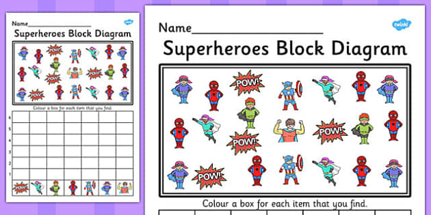 Superheroes Block Diagram Activity Worksheet - graph, activity, hero
