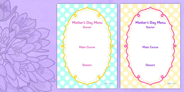 Australia Mother's Day Menu Template