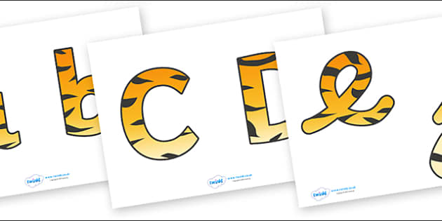 Display Lettering & Symbols (Tiger Print) - Display lettering, jungle, rainforest, display letters, alphabet display, letters to cut out, letters for displays, coloured letters, coloured display, coloured alphabet
