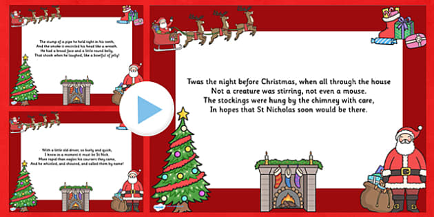 Twas the Night Christmas Poem PowerPoint - twas the night, christmas, christmas carol, lyrics powerpoint, christmas songs, lyrics, powerpoint, poems