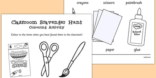 Classroom Scavenger Hunt Colouring Activity - classroom, scavenger
