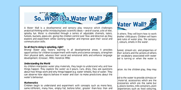 What Is a Water Wall? - what is, water wall, sensory play, eyfs, water, wall