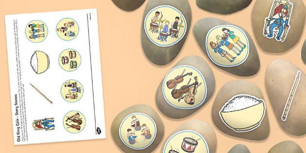 Old King Cole Story Stones Image Cut-Outs - Story stones, stone art, painted rocks, Nursery Rhymes, number rhymes, traditional