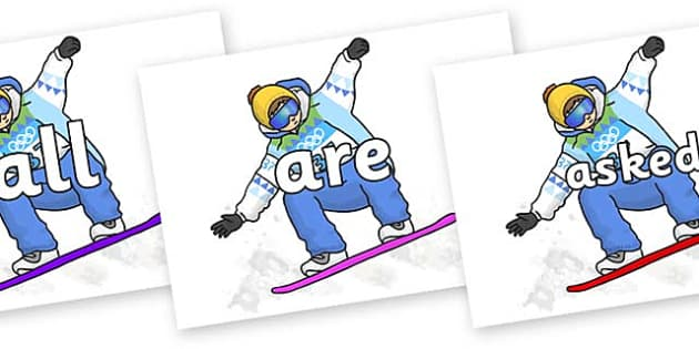 Tricky Words on Snowboarding - Tricky words, DfES Letters and Sounds, Letters and sounds, display, words