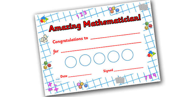 Numeracy Themed Sticker Reward Certificate 30mm - reward certificate, sticker reward certificate, sticker certificate, numeracy reward certificate, 30mm