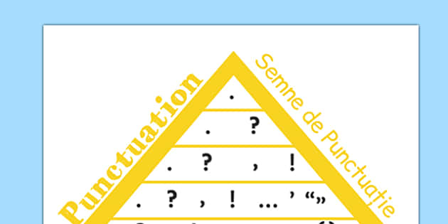 VCOP Punctuation Pyramid A4 Romanian Translation - romanian, vcop, punctuation, pyramid