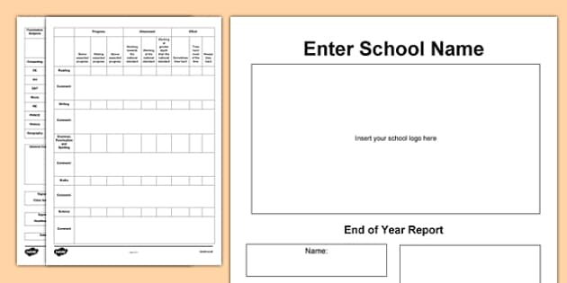 End of Year Report Template