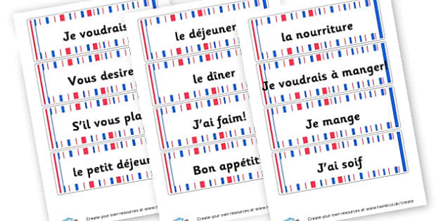 French Eating Word Cards - French Literacy Primary Resources,French,Languages,Literacy,Words