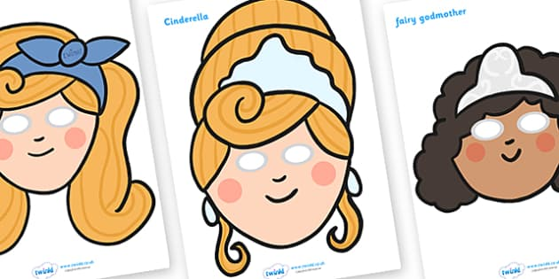 Cinderella Role Play Masks -  Cinderella, role play masks, role play, Traditional tales, tale, fairy tale, Pince Charming, Ugly Sisters, Step Godmother, Dress, Midnight, Carriage, mice, pumpkin