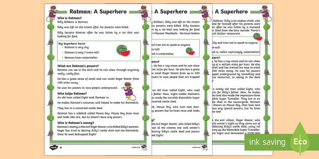 Ratman: A Superhero Differentiated Fact File - Superheroes, Ratman, hero, save, villain, powers, sidekick, reading, facts, information, non-fiction