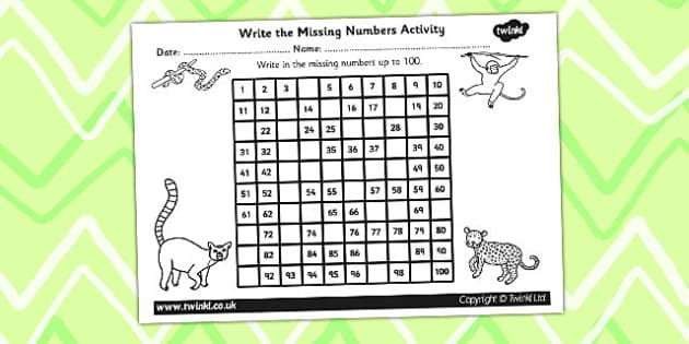 Jungle Themed Missing Number Number Square - jungle, counting