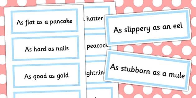 Similes Cards - similes, cards, english, simile, simile cards