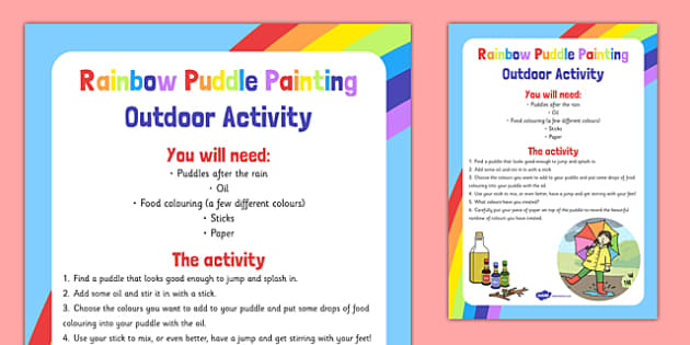 Rainbow Puddle Painting Outdoor Activity - colour, EYFS, art, activity, painting